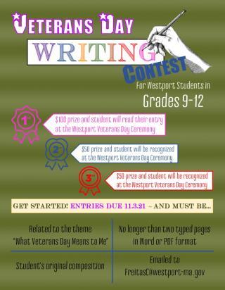 Westport High School Student Writing Contest flyer
